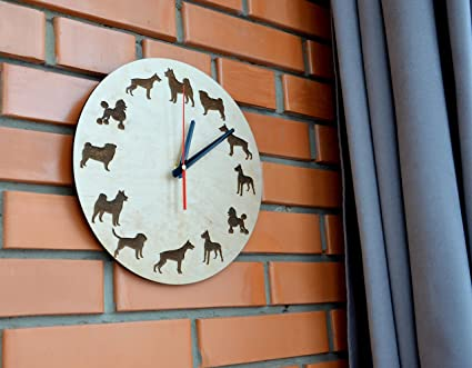 7aada857f Image Unavailable. Image not available for. Color  Dog Pet Design Handmade  Wood Wall Clock - Modern ...