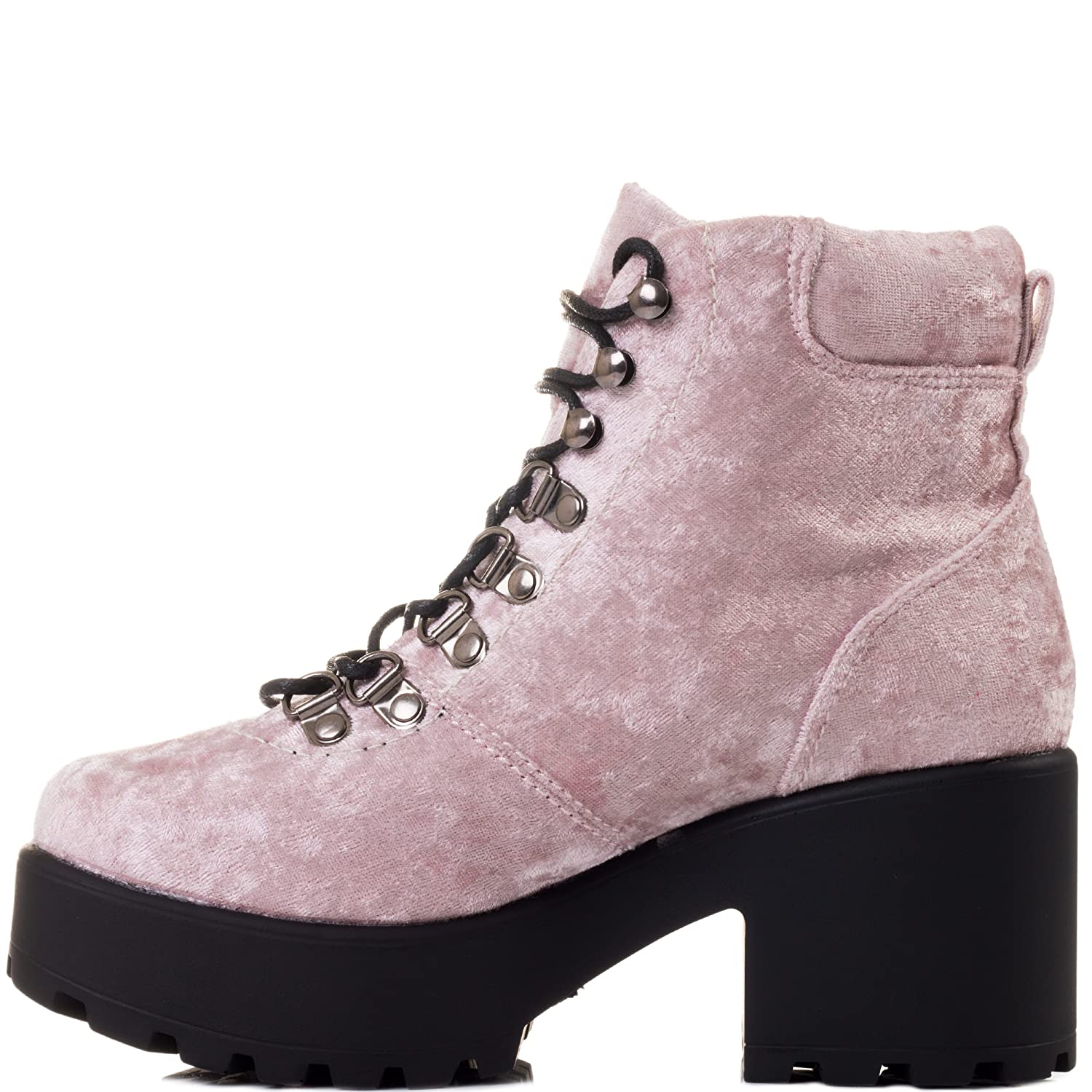 Spylovebuy Shotgun Block Heel Cleated Ankle Sole Lace up Platform Ankle Cleated Boots B07C571ZHR 5 B(M) US|Shotgun 3 - Pink Velvet Style e1cddb