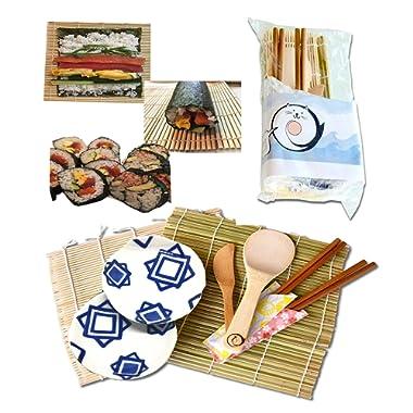Bamboo Sushi Making Kit For Couples / 2 Sushi Rolling Mats, Rice Paddle, Rice Spreader, 2 chopsticks, 2 plates/Japan Natural sushi kit.