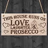 Red Ocean This House Runs On Love Laughter & Prosecco Home Decor Funny Poem Hanging Wooden Plaque Sign Gift