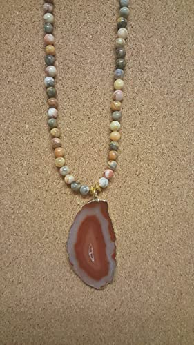 Lace Agate Slice Necklace