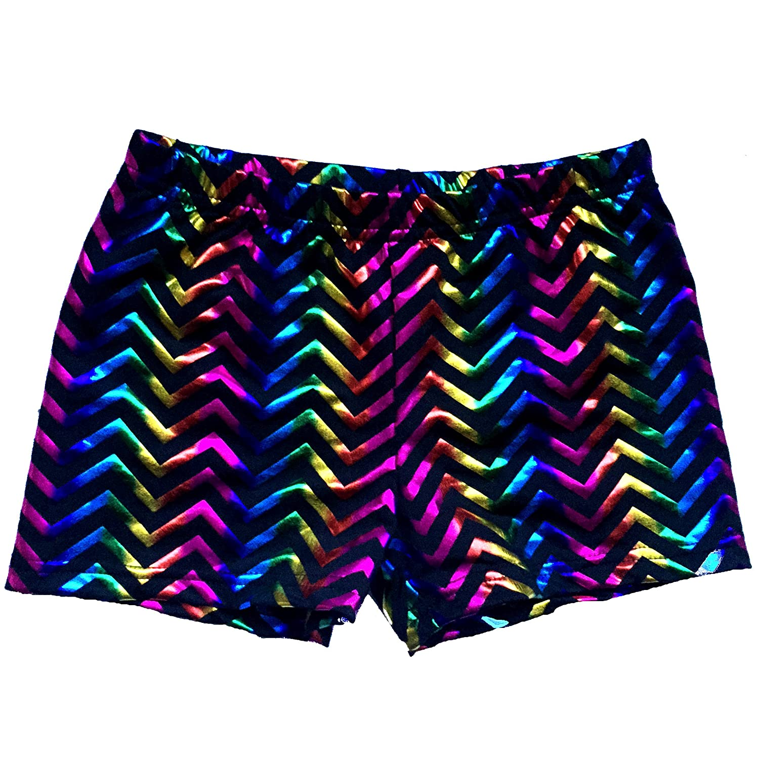 Chevron Foil Spandex Shorts Inseam in 3 Lengths