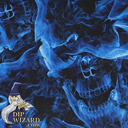Amazoncom Hydrographic Film Blue Flaming Skulls Flames Fire Water