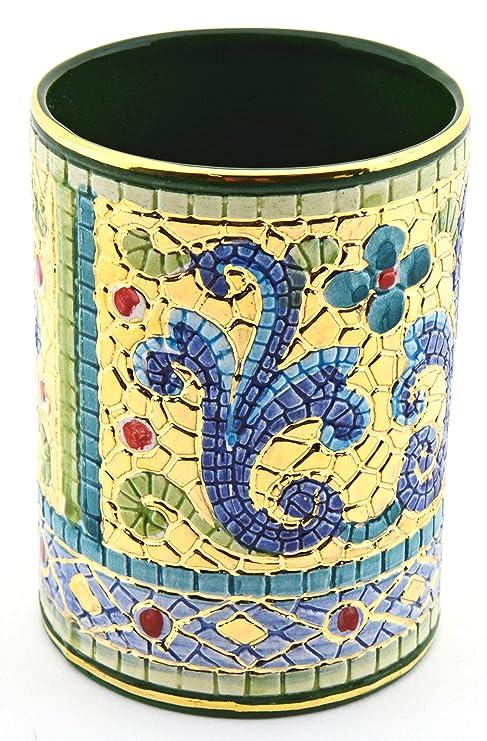 Art Escudellers LAPICERO Ceramica Pintado a Mano con Oro de 24K, Decorado al Estilo BIZANTINO