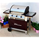 Everest 3 Burner Gas Barbecue - with Free Propane Regulator & Hose - Stainless Steel, Cast Iron Burners, Grill & Griddle