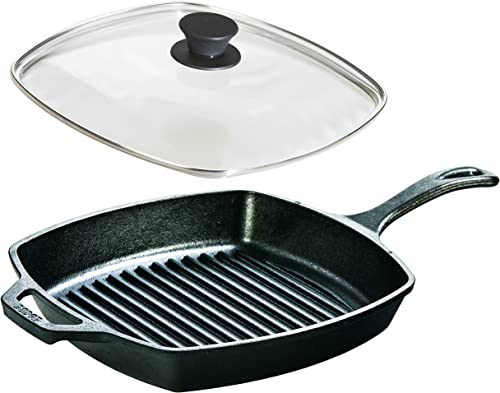 Lodge-Seasoned-Cast-Iron-Square-Grill-Pan-with-Glass-Lid
