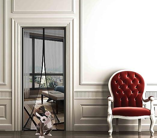Noir Maille Ultra Fine Fermeture Automatique pour Enfants et Animaux de Compagnie Viixm Moustiquaire Porte de Magn/étique 120x220cm