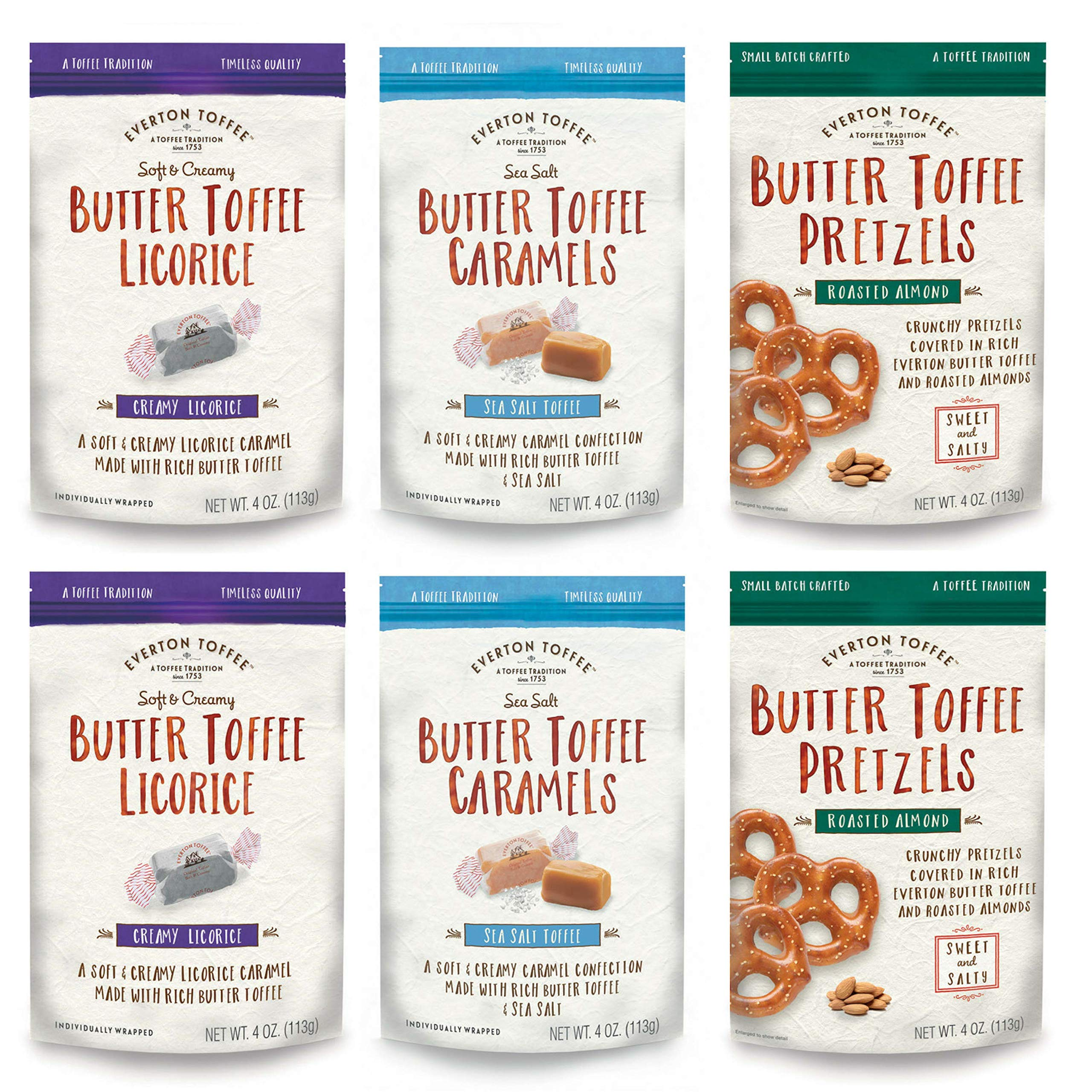 Everton Toffee Butter Toffee Caramels & Pretzels, Taster's Variety Pack (4 oz bag, 6-Pack); Gourmet, Artisan Soft Creamy Caramels - Licorice and Sea Salt Flavors and Roasted Almond Mini Pretzel Snack by Everton Toffee