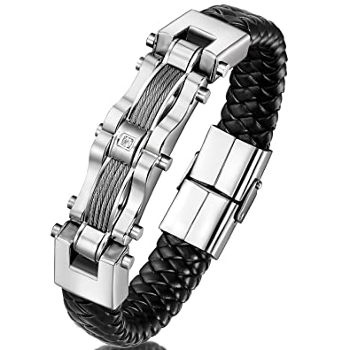 Amazon.com: ORAZIO Stainless Steel Braided Leather Bracelet for Men ...