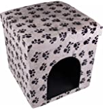 Cat House Ottoman by Clever Creations | Pawprint Cat House | Collapsible Foot Rest Ottoman | Perfectly Sized Comfort for People and Cats Alike | Living Decor | Pet Friendly Furniture | Black and White