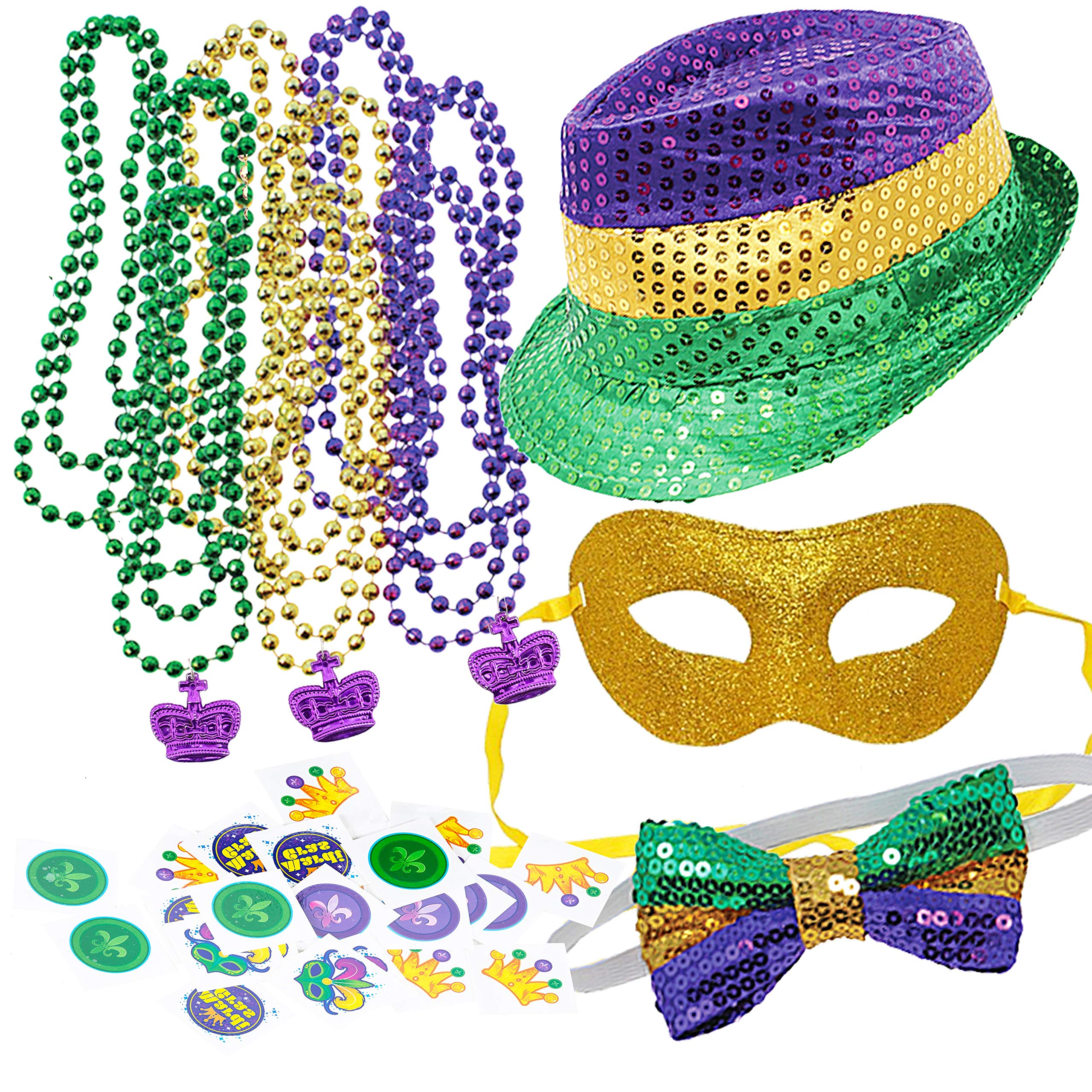 JOYIN 96 Pieces Mardi Gras Beads Beaded Necklace with 192 Temporary Tattoos Mardi Gras Party Favors Accessory and Supplies