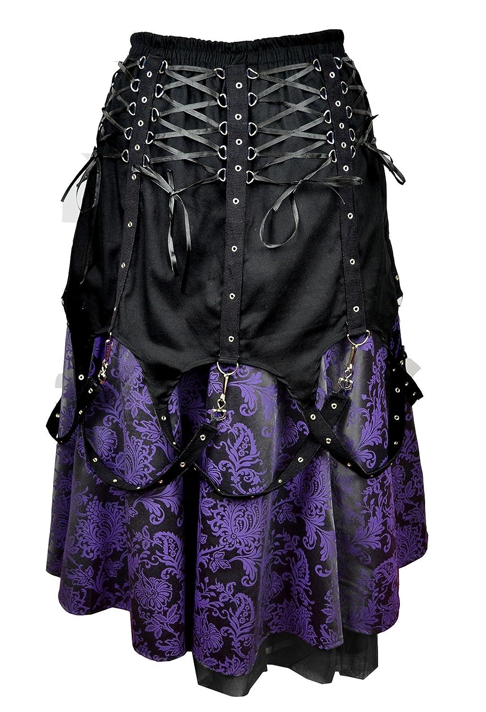 0e23673d42b6 Dark Star Black Purple Brocade Gothic Medieval Punk Chains Long Skirt M-2X  Plus Size at Amazon Women's Clothing store: