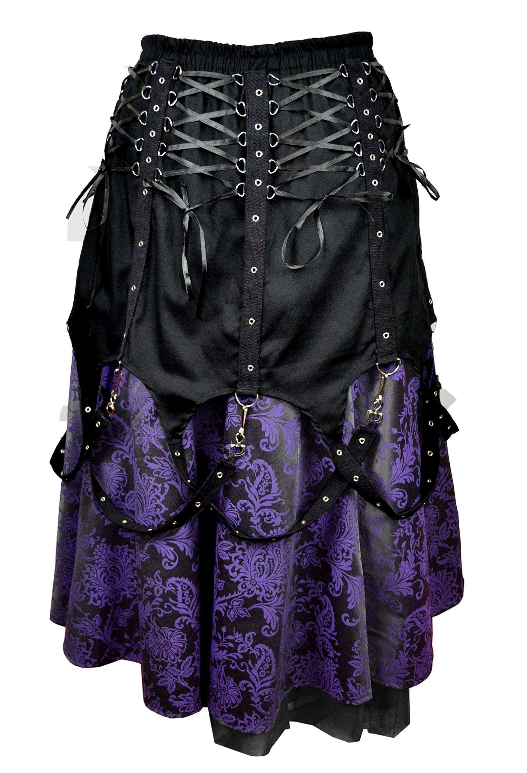 Dark Star Black Purple Brocade Gothic Medieval Punk Chains Long Skirt M-2X Plus Size