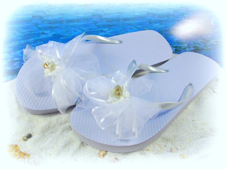 267bb2642e40d Amazon.com  Beach Bride Seashell Wedding Flip Flops Nautical Tropical  (Women s Size Small (6 7))  Baby