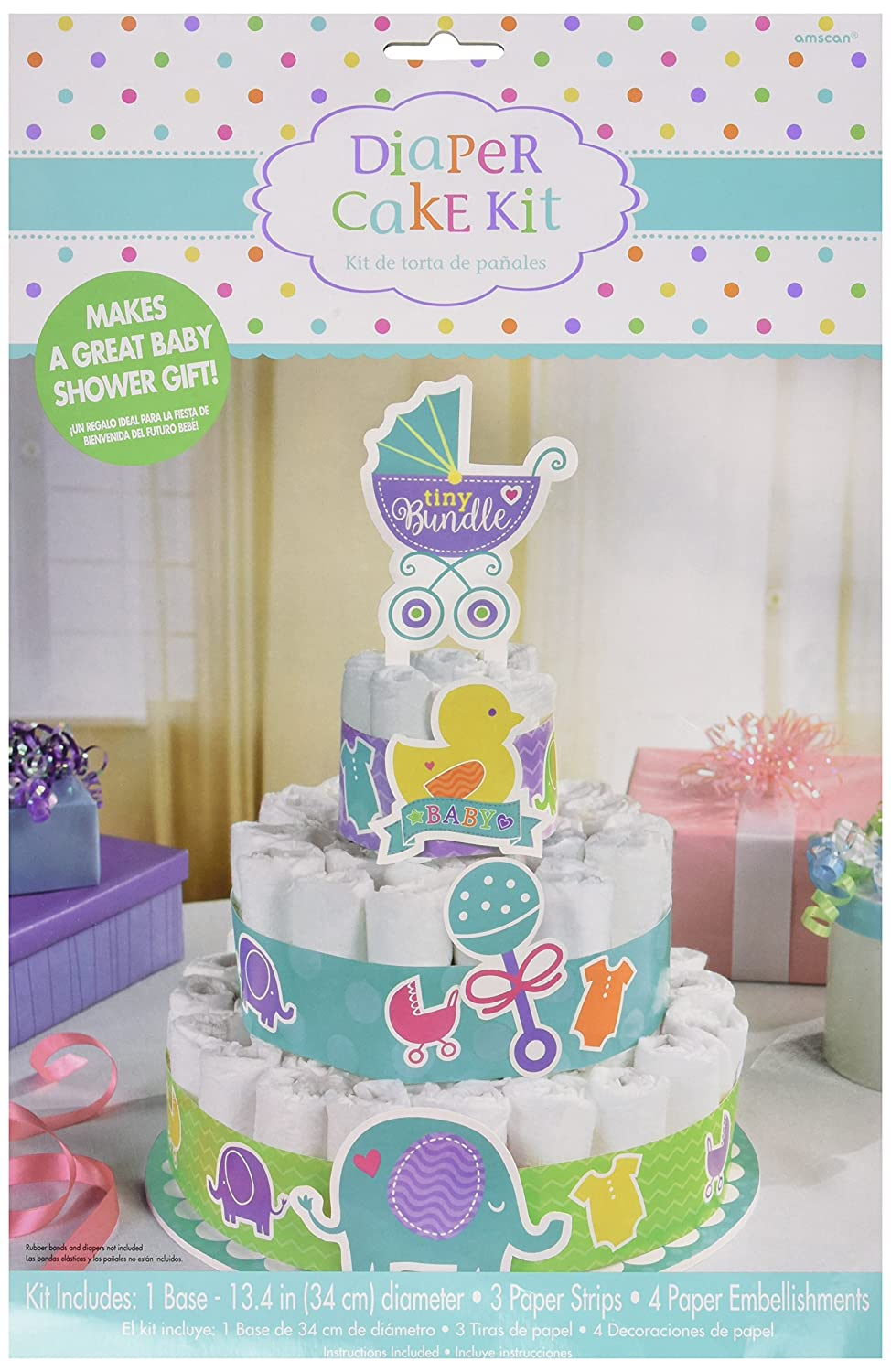 Amscan Baby Shower Bottom Diaper Cake Kit, 13 1/4, Multicolor 13 1/4 AMI 380071