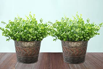 2 Pack Flower Pots Metal Galvanized Christmas Decor Planters, 9 Inch,  Indoor And Outdoor