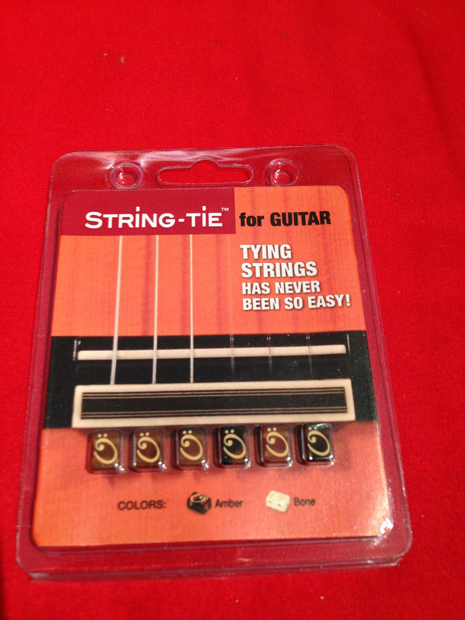 String-Tie Set for Classical & Flamenco Spanish Guitar, Amber Color Beads.