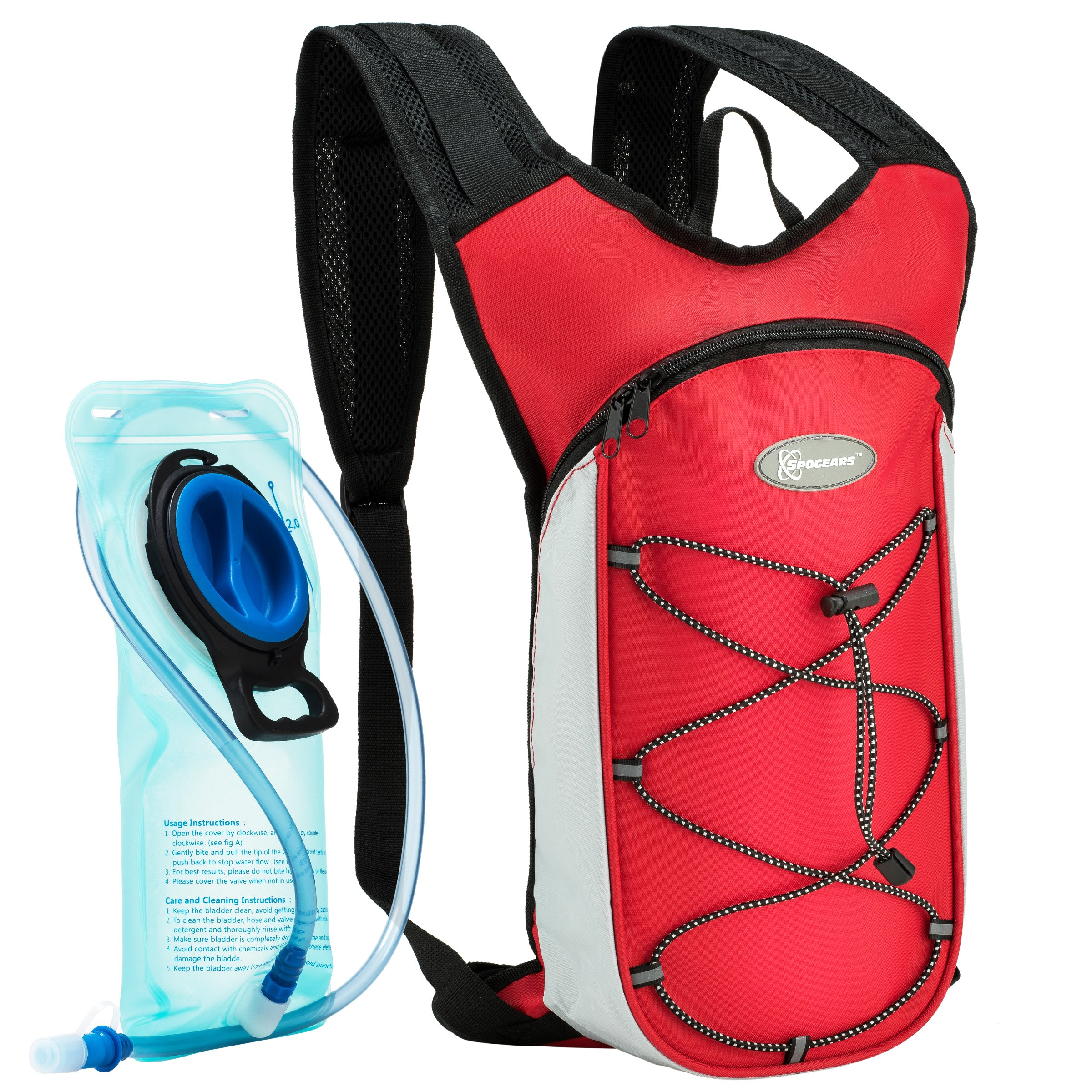 SPOGEARS Hydration Backpack by, The Hydration Pack Includes 2L Leak Proof Water Bladder, On & Off Valve, Separate Pocket for the Bladder, Adjustable Padded Shoulder Straps, Perfect Sports Gear by SPOGEARS