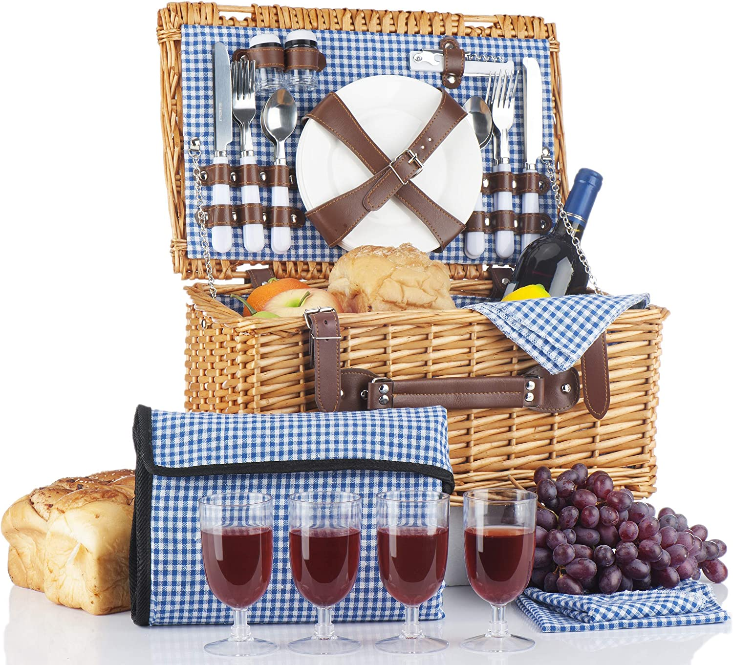 Amazon Com Picnic Basket For 4 Person Picnic Set Folding Picnic Blanket Picnic Table Set Picnic Plates Picnic Supplies Summer Picnic Kit Picnic Utensils
