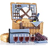 Picnic Basket for 4 Person | Picnic Set | Folding Picnic Blanket | Picnic Table Set | Picnic Plates | Picnic Supplies | Summe