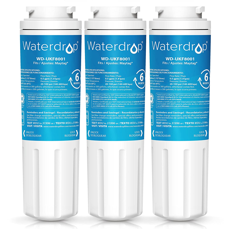Waterdrop UKF8001 Refrigerator Water Filter, Compatible with Maytag UKF8001, UKF8001AXX, UKF8001P, Whirlpool 4396395, 469006, EveryDrop Filter 4, Puriclean II, Pack of 3