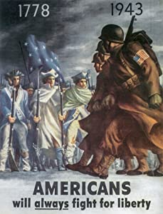 UpCrafts Studio Design WW2 Propaganda Poster - Americans Will Always Fight for Liberty - WWII US American Posters Replica Military Wall Art Decor (11.7x16.5)