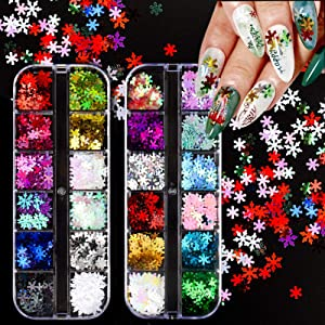 24 Colors DIY Holographic Snowflake Nail Glitter for Christmas Fake Nail Art Solid Color Stickers Decor, Street Designer Nail Sequins Decal for Acrylic False Nails Decorations Supplies for Women