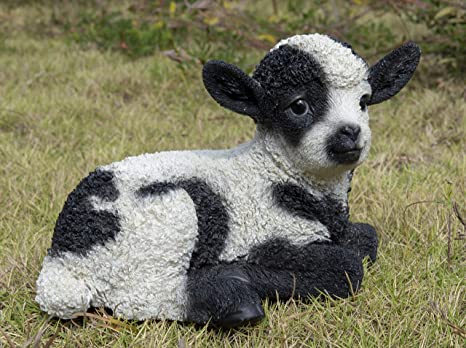 Amazon Com Hi Line Gift Ltd Small Black White Baby Lamb Lying Down Home Kitchen