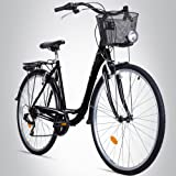 Bergsteiger Florenz 28 Zoll Damenfahrrad, ab 160 cm, Korb, Fahrrad-Licht, Shimano 7 Gang-Schaltung, Standlichtfunktion, Damen-Citybike, Damenrad im Retro-Design