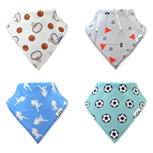 BabiesAmour 4 Pack Bandana Baby Boy and Girl Bibs (Style 18) - Extra Soft and Quickly Dry Burp, Eating and Drool Bib for Newborn, Infant and Toddler - Food Catcher, Teething and Led Weaning Cloths