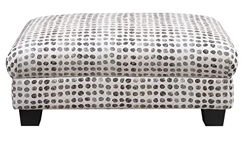 Artum Hill Cooper Ottoman in Pebble Dot with Fixed Cushion and Wood Legs