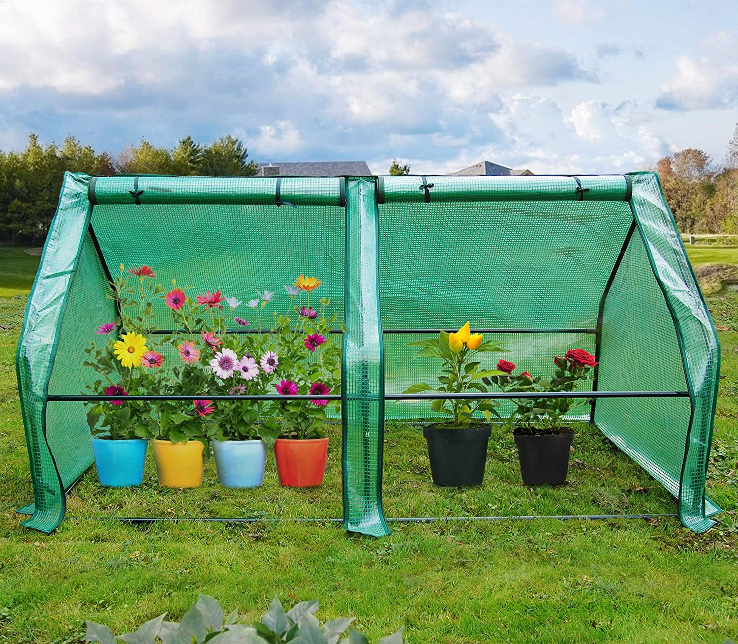 Quictent 71 WX 36 D X 36 H Portable Cloche Mini Greenhouse, Large Zipper Doors Garden Green House – 50 Pcs T-Type Plant Tags Included Green