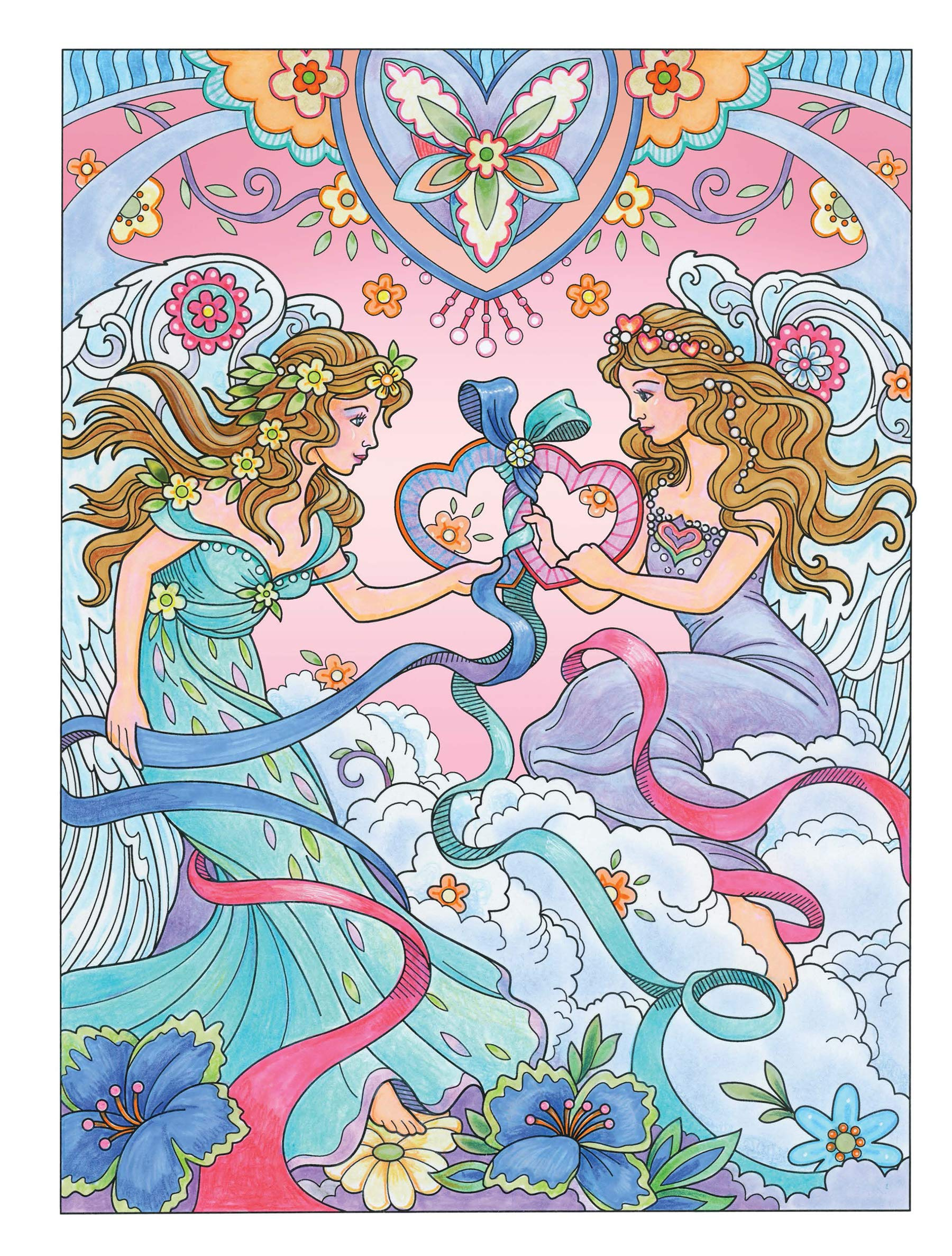 Creative Haven Beautiful Angels Coloring Book Adult Coloring ...