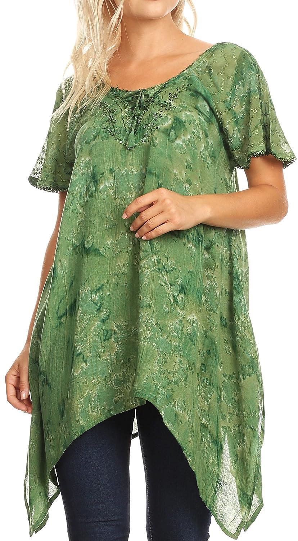 Sakkas Kiara Damen Asymmetrische Marble Dye Sommer Top Bluse Kurzarm Spitze