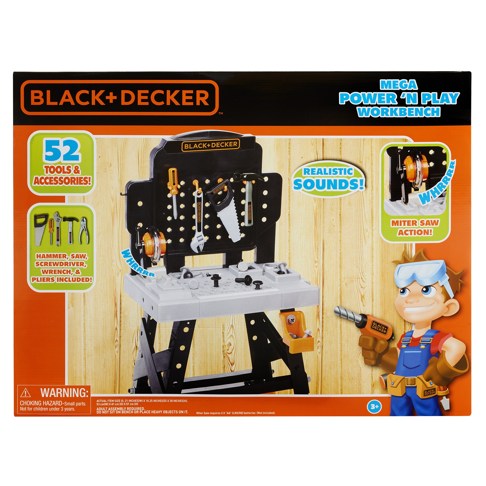 BLACK+DECKER 71382 Jr. Mega Power N' Play Workbench with Realistic Sounds! - 52 Tools & Accessories by BLACK+DECKER (Image #7)