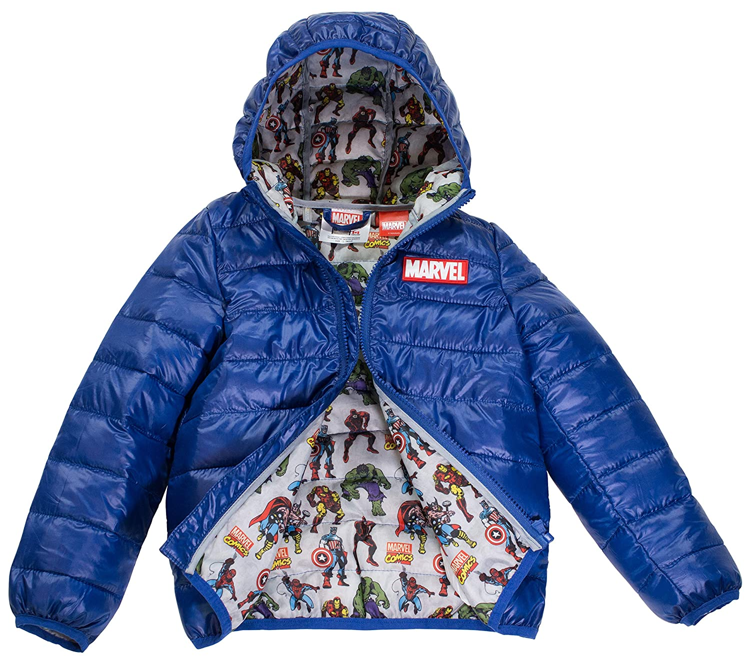Marvel Avengers Boys Ultralight Hooded Puffer Jacket Size 4 7 Official Licensed Product