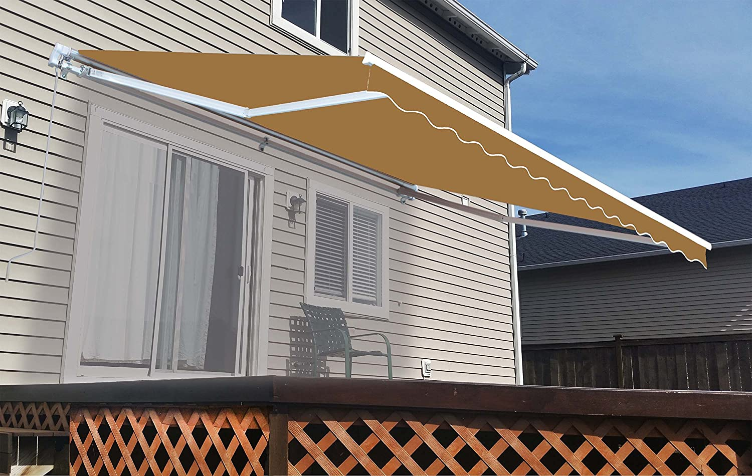 Amazon ALEKO 12x10 Feet Retractable Home Patio Awning Sand Garden Outdoor