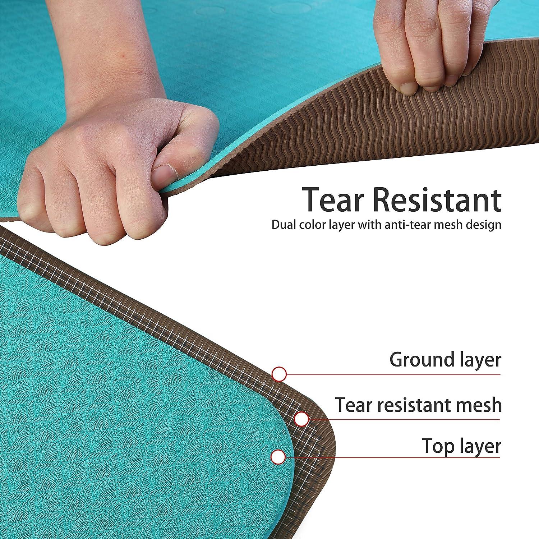 Umi Essentials Yoga Mat Colchoneta Yoga  Antideslizante Eco TPE Extra Suave con Double Capas Verde + Marr/ón, 1830/×800/×6mm