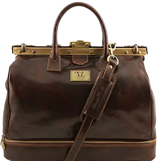 Vintage & Retro Handbags, Purses, Wallets, Bags Tuscany Leather Barcellona Double-bottom Gladstone Leather Bag $342.69 AT vintagedancer.com