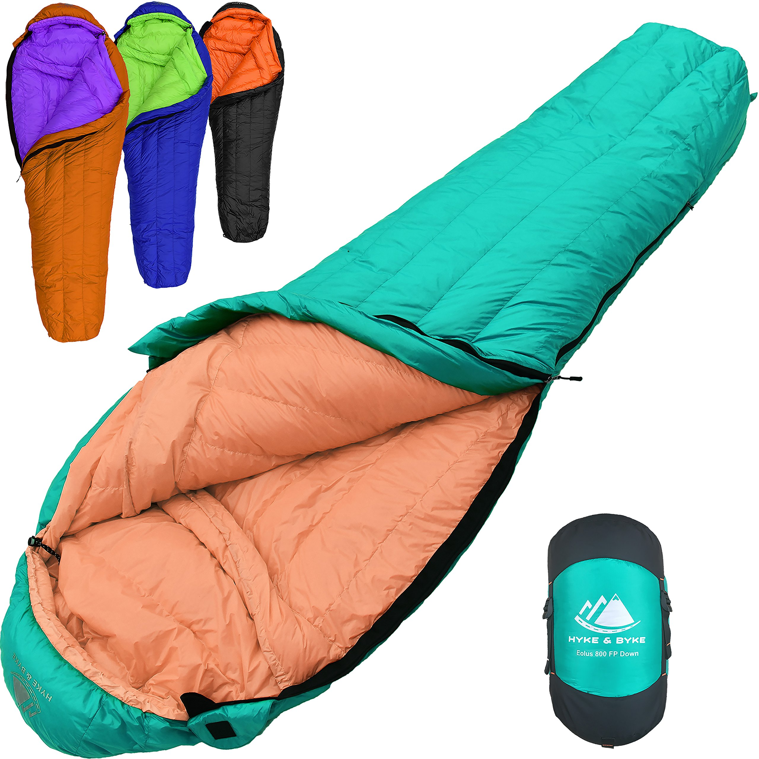 800 Fill Power Goose Down Sleeping Bag for Backpacking - Eolus 15/30 Degree F Ultralight, Down Filled 3 Season Men's and Women's Lightweight Mummy Bags (30 Degree - Mint/Tangerine, Regular) by Hyke & Byke