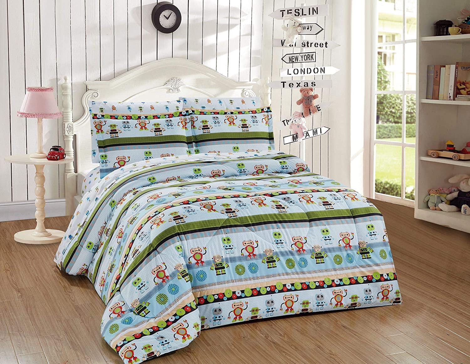 Better Home Style Multicolor Blue Green Robots Printed Fun Design 7 Piece Comforter Bedding Set for Boys/Kids/Teens Bed in a Bag with Sheet Set # Robots (Full)