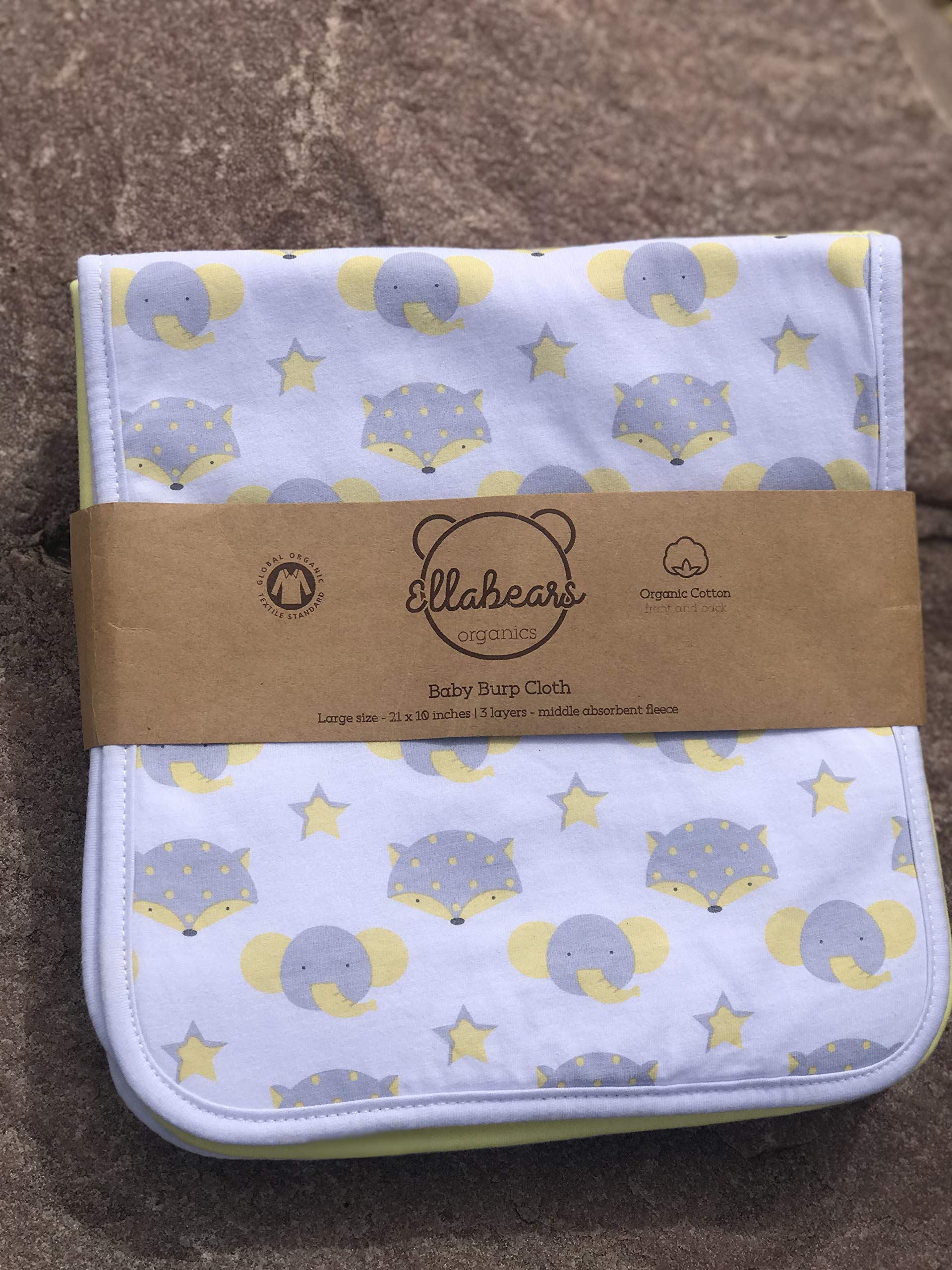 Ella Bears Organic Baby Burp Cloths 5 pack Super Absorbent 100% Organic 21X10 inch Extra Long |Triple Layers | Highest Organic Quality | Ultra Soft and Extremely Thick | Multiple Uses