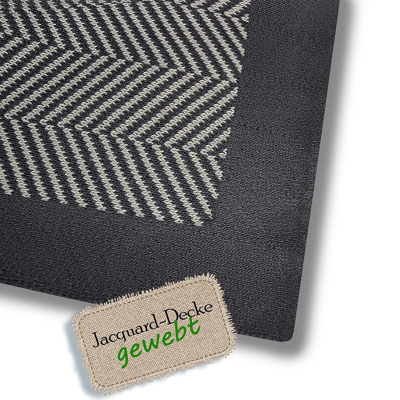 Baumwolldecke Chevron Fischgrät Muster Öko-Tex zertifiziert kuschelige Wohndecke