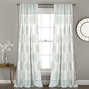 "Lush Decor Teardrop Leaf Curtains Room Darkening Window Panel Set for Living, Dining, Bedroom (Pair), 84""x 52"", Blue"