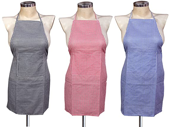 Yellow Weaves� Waterproof Cotton Kitchen Multi Apron with Front Pocket - Set of 3