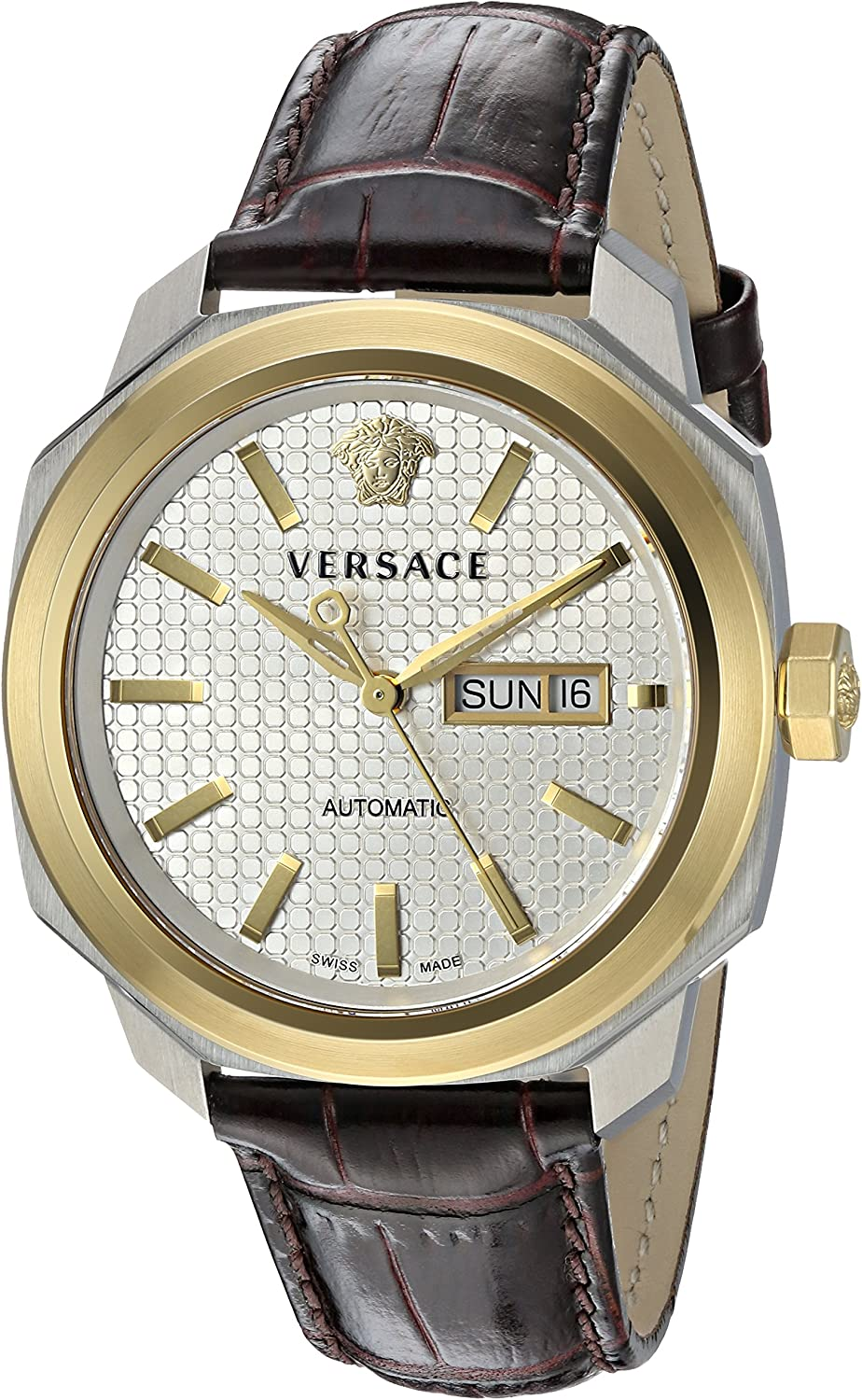 Versace Men s VQI020015 DYLOS AUTOMATIC DAY Analog Display Swiss Automatic Brown Watch