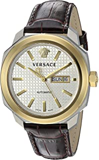 Versace Mens VQI020015 DYLOS AUTOMATIC DAY Analog Display Swiss Automatic Brown Watch