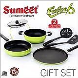 Sumeet Nonstick Festive Six Gift Set (1 Tawa, 1 Kadhai with S.S. Lid, 1 Fry pan, 2 Nylone Spatulas ) (Green)