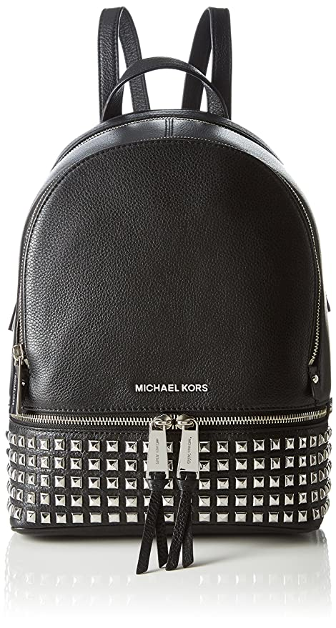 Michael Kors - Rhea Zip Medium Pyr Studded Backpack, Bolsos mochila Mujer, Negro (