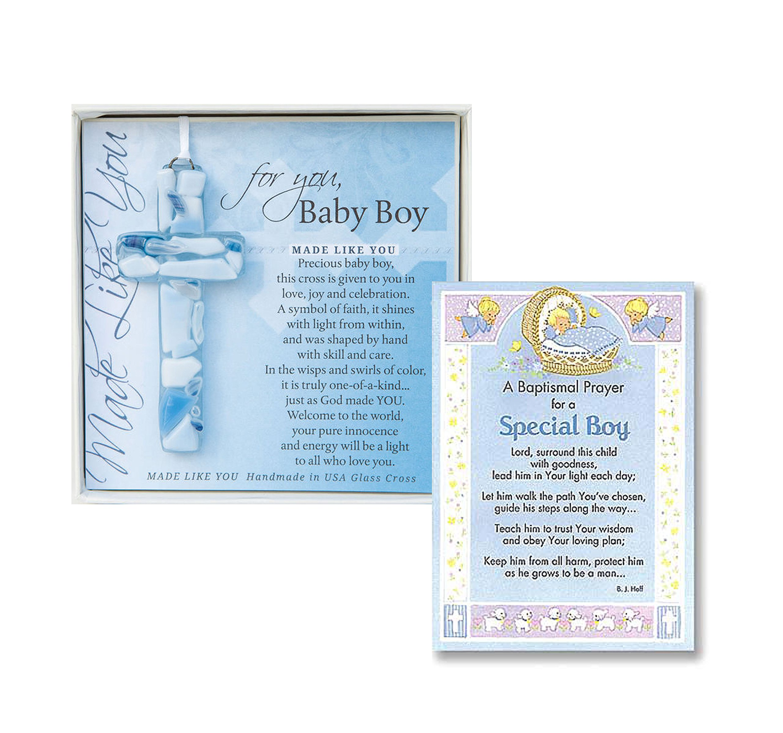 Baptism Wall Cross Christening Gifts For Boys Gift Set Handmade in the USA Glass Cross for Baby Boys and a Baptism Prayer Card Great Baptism Gifts for Boys